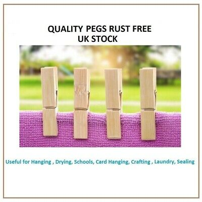 RUST FREE Bamboo Clothes Pegs Strong Wind Proof Quality Washing Line Peg Laundry • 3.99£