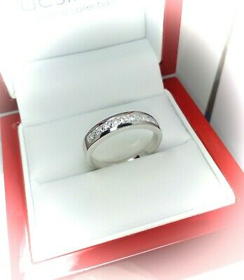 Sterling Silver Ring. Princess Cut Half Eternity Ring.Marked 925.Size P. 3 Video • 18.99£