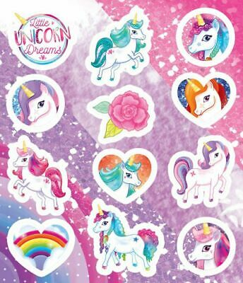 Unicorn Stickers Childrens Party Sticker Sheets Kids Party Bag Fillers Toys • 0.99£
