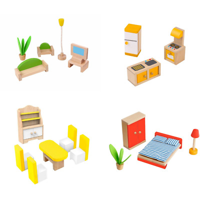 Dolls House Furniture Wooden Tooky Toys Set People Dolls For Kids Children Gift  • 8.99£