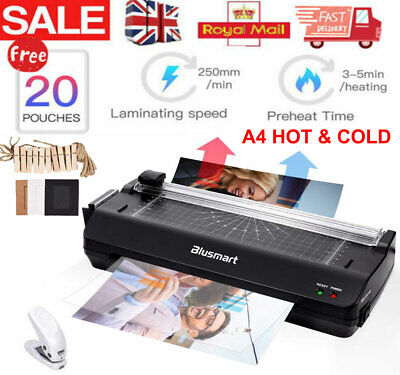 Home Office A4 Laminator Machine & Free Paper Trimmer+Corner Rounder+20 Pouches • 23.99£