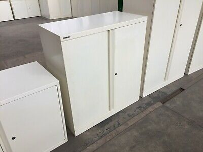 BISLEY STEEL STATIONERY CABINET, CUPBOARD, C/W LOCK & KEY, CREAM Or OFF WHITE • 84£
