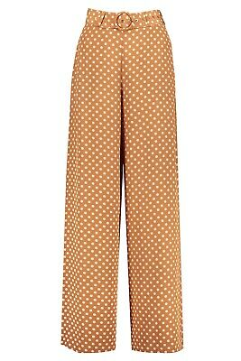 AU150 • Buy Zimmermann Espionage Silk Belted Pant, Dijon Dot, Size 0, Excellent Condition