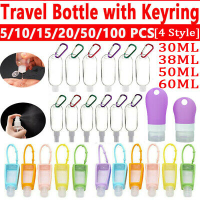 5-100pcs Refillable Bottle 50ml Travel Liquid Sanitizer Containers Empty Bottles • 7.16£