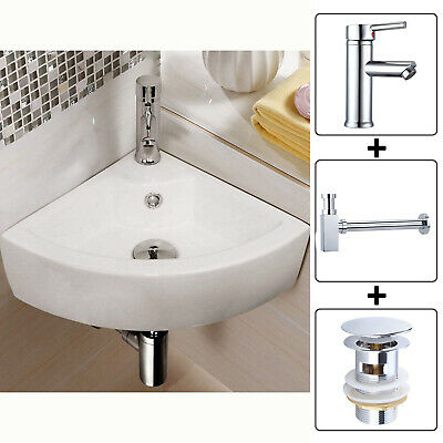 Small Corner Ceramic Cloakroom Basin Hand Wash Wall Mounted Bathroom Sink + Tap • 59.69£