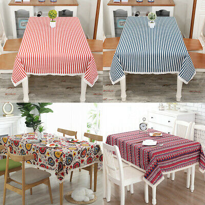 $15.99 • Buy Rectangle Bohemian Printed Tablecloth Linen Lace Kitchen Dining Table Cover