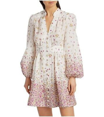 $420 • Buy NEW Zimmermann Carnaby Short Floral Puff Sleeve MINI Dress IVORY AU 0, 1 , 2