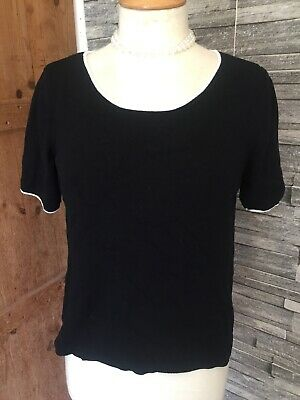 Vintage Short Sleeve Top By  Viyella Size S Stretchy Type Fabric   Black  • 2.99£