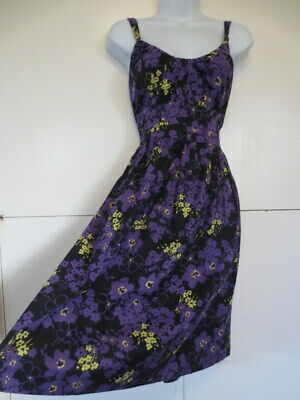 AU22.95 • Buy RETRO VINTAGE 50s STYLE DRESS S14 NEW WITH TAGS COTTON BLACK PURPLE FLORAL NOW