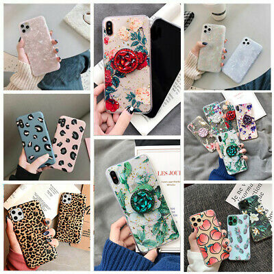 Glitter Flowers Case For Iphone 11 Pro Max XR SE 7 8 Xs MAX Leopard Print Cover • 1.99£