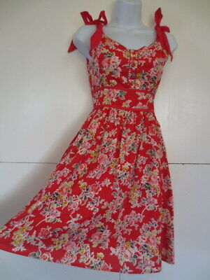 AU23.95 • Buy RETRO VINTAGE 50s STYLE PRINCESS HIGHWAY DRESS S6 NEW WITH TAG COTTON RED FLORAL
