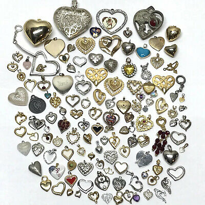 $ CDN88.45 • Buy Pendant Jewelry Lot, Hearts, Jewelry Making, Sterling Silver, 12Kt GF, Vintage