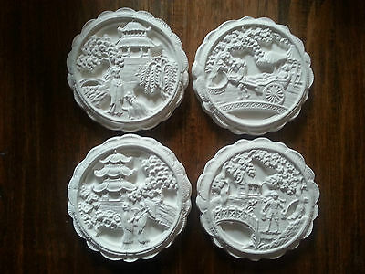 Set Of 4 Oriental Chinese Scene Architectural Plaster Wall Decor Hanging Plaques • 12£