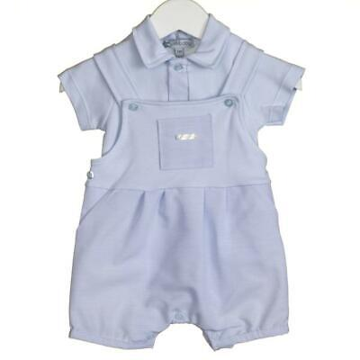 Baby Boys BLUES BABY Short Dungaree Suit Set  Blue Summer New (9) 1 To 12 Months • 16£