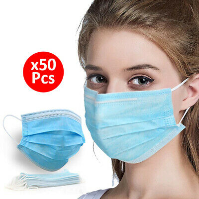 £5.29 • Buy 50x Face Mask Disposable Mouth 3PLY Breathable Respiration Dust