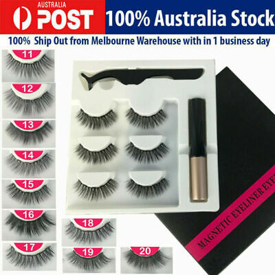 AU12.95 • Buy Magnetic False Eyelashes Natural Eye Lashes Extension Liquid Eyeliner Tweezer