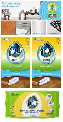 Pledge Fluffy Dusters Starter Kit Dry Dusting Cleaning Cloth Pack Duster Refills • 4.95£