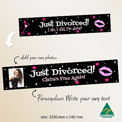£10.81 • Buy  Custom PERSONALISED  Just Divorced Break Up Party Banner Canvas Decorations