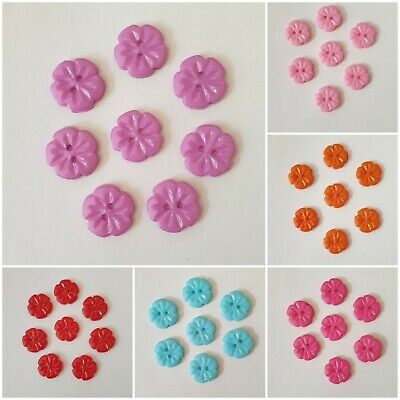 £2.25 • Buy Pretty Flower Shape Acrylic Two Hole Buttons Size 15mm -12 Colours Available
