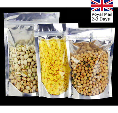 Zip Lock Heat Seal Foil Bags Stand Up Pouch Clear Silver Food Packaging Aluminum • 2.49£