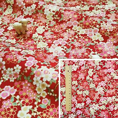 £3.25 • Buy RED PINK Meter/Fat Quarter/FQ 100%Cotton Fabric Japanese Kimono Floral Flowers