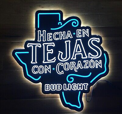 $ CDN260.68 • Buy NEW Bud Light Beer TEJAS Hecha En Con Corazon Texas Shaped LED Neon Light Sign