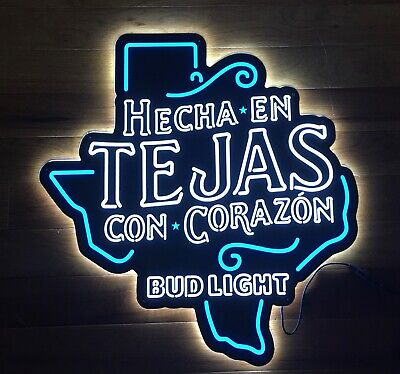 $ CDN268.11 • Buy NEW Bud Light Beer TEJAS Hecha En Con Corazon Texas Shaped LED Neon Light Sign