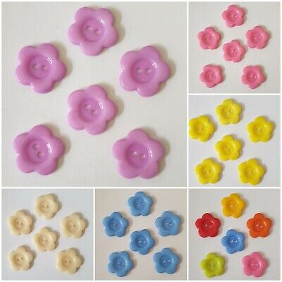 6 Pretty Flower Shaped Acrylic Buttons Size 20mm - Various Colours Available • 2.25£
