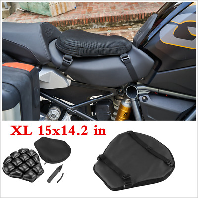 Motorcycle Comfort Seat Cushion Inflatable Pad Breathable Mesh Cover Black XL • 33.89£