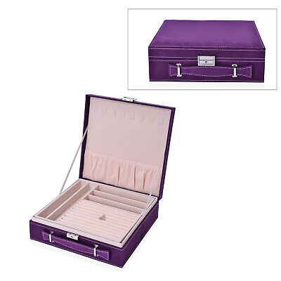Purple Faux Velvet Briefcase Style 2-Tier Jewelry Box Anti-Tarnish 60 Rings • 23.91£