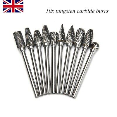 10pcs Tungsten Steel Solid Carbide Burrs For Dremel Rotary Tool Set Drill Bit • 7.99£