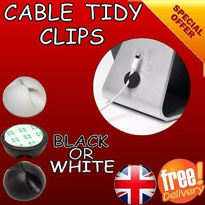 Cable Clip Desk Tidy Organiser Wire Drop Lead USB CHARGER HOLDER Black White • 1.20£