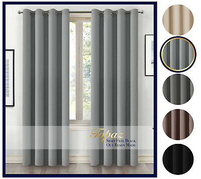 Thick Thermal Blackout Ready Made Eyelet Ring Top Pair Curtains Panel + Tie Back • 24.99£