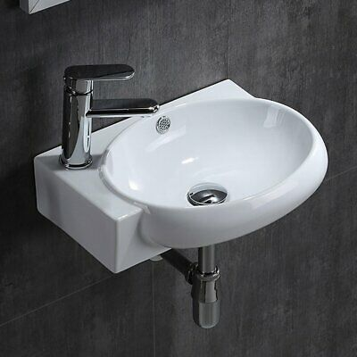 Small Bathroom Oval Wall Mount Cloakroom Hand Wash Basin Sink White Ceramic Bowl • 32.99£
