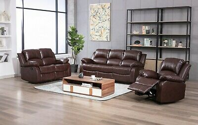 £615.99 • Buy Leather Recliner 1 2 3 Seater Sofa, Brown, Grey, Black, Couches Set Suite