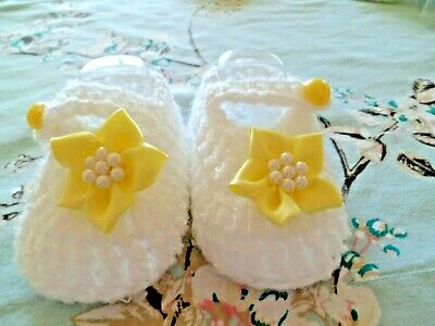 Hand Crochet Baby Booties/shoes 0-3 Months/8 Cm Sole • 2.75£