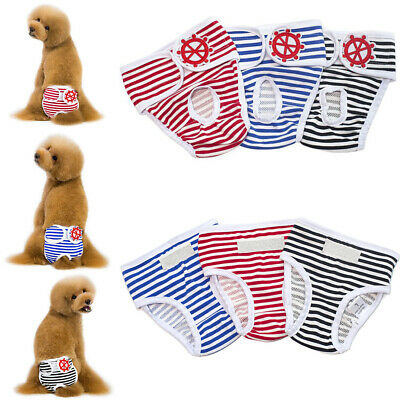 Pet Dog Pants Sanitary Panty Female Puppy Striped Physiological Panties Nappy • 4.59£