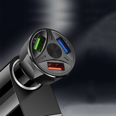 $5.04 • Buy Black 3Port USB Car Charger Adapter LED Display QC 3.0 Fast Charging Accessories