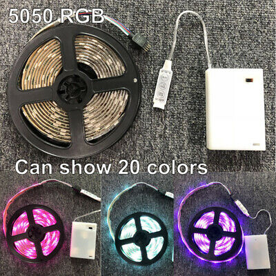 $13.64 • Buy 3M 5050 RGB Battery Powered Flexible Waterproof 90 LED Strip Light Controller 5V