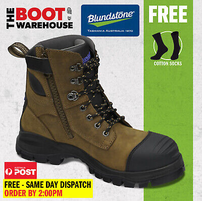 AU178.95 • Buy Blundstone 983 Rustic Brown Work Boots, Zip Sided, Steel Toe Safety, 150mm