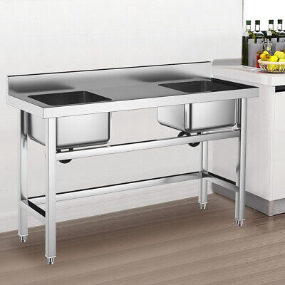 Commercial Double Bowl Wash Table Kitchen Handmade Sink Kitchen Stainless Steel • 215.94£
