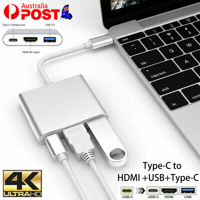 AU16.35 • Buy 3IN1 USB 3.1 Type-C USB-C To Female HUB 4K HD HDMI Data Charging Cable Adapter