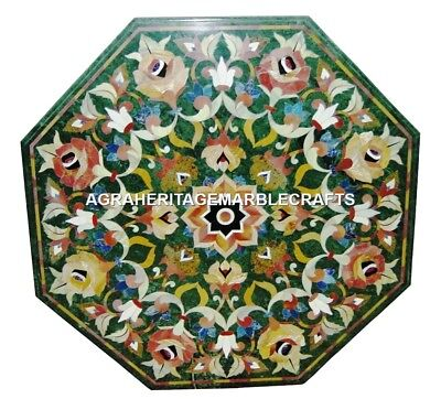 £713.18 • Buy Green Marble Coffee Table Top Marquetry Inlay Living Art Mosiac Home Decor H2920