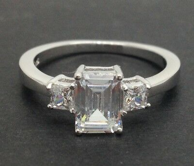 Emerald Cut 3 Stone Ring, Solid Sterling Silver, New, Cubic Zirconia. Princess. • 14.99£