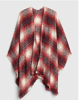 £10 • Buy New With Tags Gap Gorgeous Red Plaid Supersoft Fringed Shawl Cape