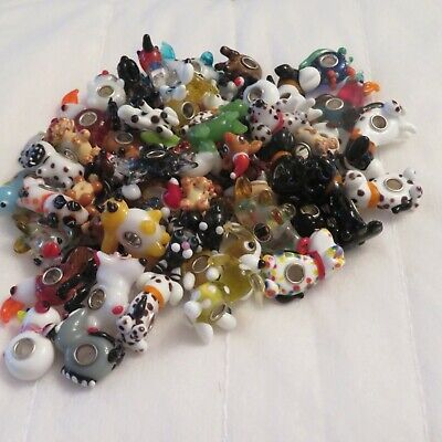 Murano Glass And 925 Silver Animal Beads. Lots Of 10 • 9.99£