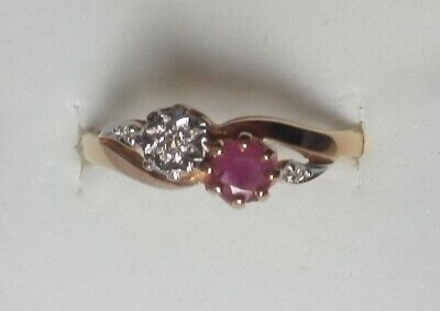 9 Ct GOLD HALL MARKED  ONE RUBY AND  DIAMONDS  RING • 139.50£