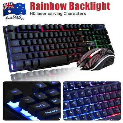 AU26.89 • Buy Pro Gaming Keyboard And Mouse Set Rainbow LED Wired USB For PC Laptop PS4 Xbox