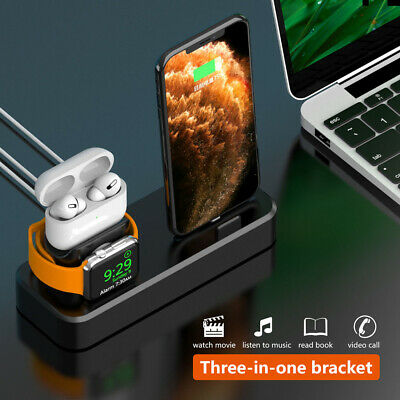 AU19.98 • Buy AU 3in1 Charger Dock Silicone Charging Stand For IWatch 5/4/3/2/1 IPhone 11 XS 8