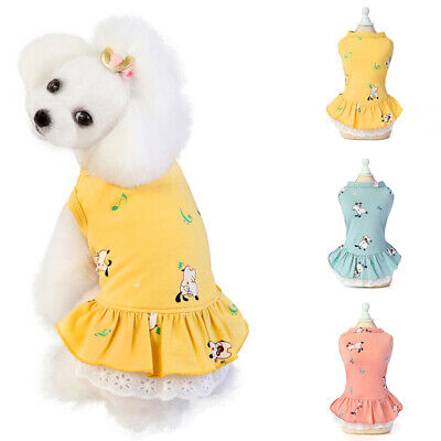 Summer Pet Dog Cat Dresses Cute Puppy Chihuahua Clothing Soft Cotton Skirt Dress • 3.54£